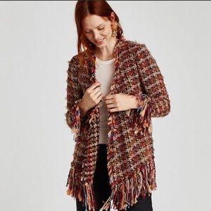 Zara Woman Multi Color Tweed Fringed Cardigan